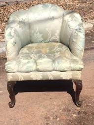 Light Green Shell Back Upholstered Chair