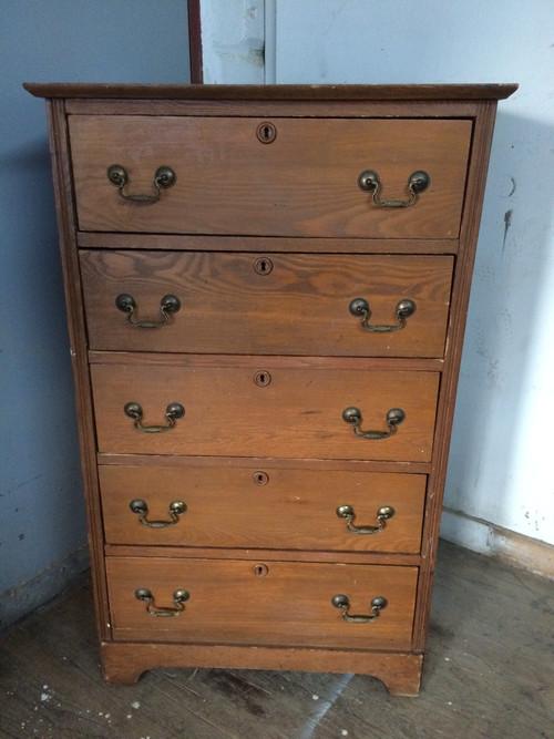 Antique Oak Tall 5 Drawer Dresser Forgotten Furniture