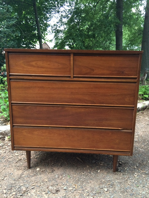 Mid Century Modern Cherry 5 Drawer Dresser Forgotten