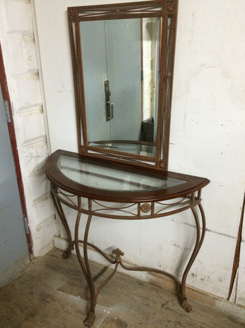 Half Moon Glass Entry Table W Mirror Forgotten Furniture