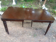Antique Mahogany Table w/ Double Corner Legs and Leaf