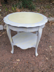 Handpainted Round French End Table - Paris Grey & Versailles