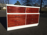 Mid Century Modern White and Mahogany 6 Drawer Dresser