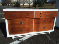 Mid Century Modern White and Mahogany 6 Drawer Dresser w/ Mirror