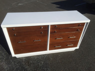 Mid Century Modern White / Walnut 6 Drawer Dresser