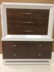Mid Century Modern Dark Walnut and White 5 Drawer Dresser