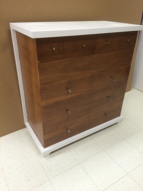 vintage mid century modern white and walnut 6 drawer dresser forgotten furniture. Black Bedroom Furniture Sets. Home Design Ideas