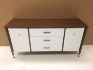 Vintage Mid Century Modern White and Walnut Buffet / Media Stand