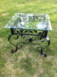 Black Aluminum Glass Top Side Table