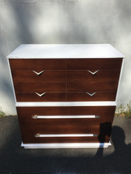 Vintage Modern White Walnut 4 Drawer Dresser