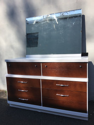 Vintage White Walnut 6 Drawer Dresser w/ Mirror