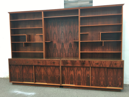 Vintage 11ft Long Rosewood Wall Unit Display Cabinet
