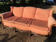 Antique North Wind and Clawfoot Carved Mahogany Framed Sofa
