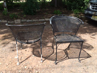 Pair of Black Wrought ron Patio Chairs