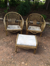Pair of Bamboo Patio Chairs and Footstool