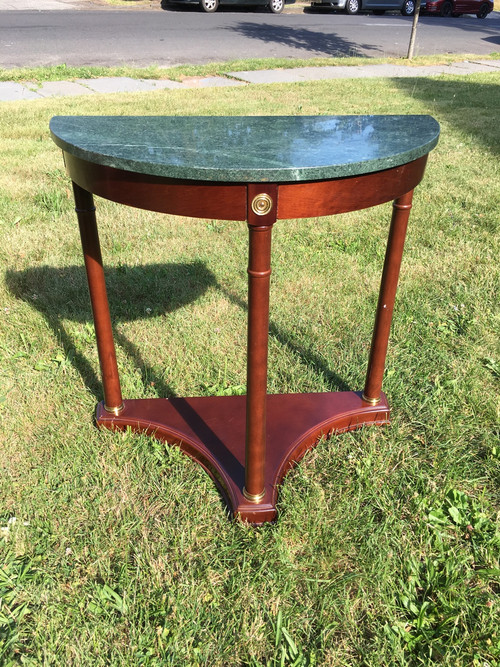 Half moon green marble hall table forgotten furniture for 1 2 moon table