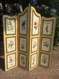 French Provincial Handpainted Folding Privacy Screen