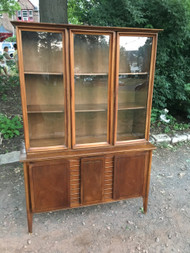 Vintage Modern Walnut China Cabinet