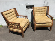 Pair of Vintage Wood Arm Lounge Chairs