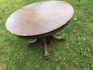 Antique Tiger Oak Round Pedestal Table