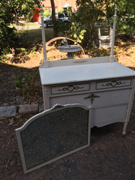 Antique Handpainted Tall Dresser and Low Dresser w/ Mirror