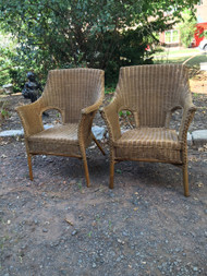 Pair of Natural Wicker Arm Chairs