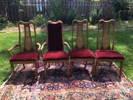 Set of 4 Red Velvet Dining Chairs