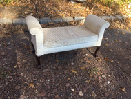 Queen Anne White Upholstered Bench