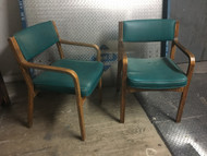 Pair of Mid Century Modern Teal Arm Chairs