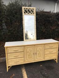 Vintage Faux Bamboo 9 Drawer Dresser w/ Mirror