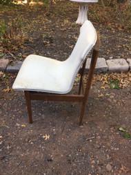 Mid Century Modern Walnut / White Accent Chair