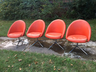 4/6 Vintage Mid Century Danish Modern Viko Baumritter Chrome Dining Chairs