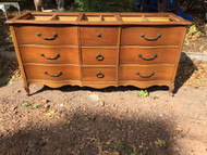 French Provincial Cherry 9 Drawer Dresser w/ Top Inserts