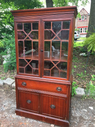 Antique Mahogany Glass China Cabinet