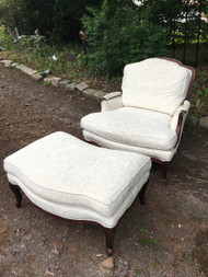 French Provincial Oversized Arm Chair and Ottoman