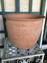 "12"" Etched Floral Terra Cotta Planter Pot - Vintage NEW OLD STOCK!"