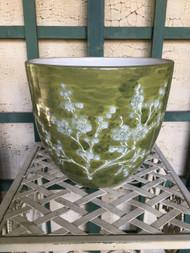 "9"" Green Cherry Blossom Glazed Planter Pot - Vintage NEW OLD STOCK!"