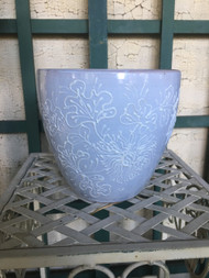 "7"" Blue Flowers Glazed Planter Pot - Vintage NEW OLD STOCK!"
