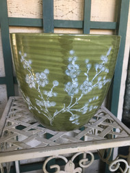 "13"" Green Cherry Blossom Glazed Planter Pot - Vintage NEW OLD STOCK!"