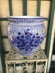 "12"" Blue on White Floral Glazed Fishbowl Planter Pot - Vintage NEW OLD STOCK!"