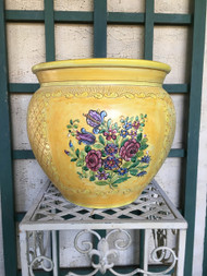 "12"" Handpainted Yellow Floral Fishbowl Planter Pot - Vintage NEW OLD STOCK!"