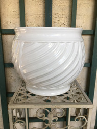 "12"" White Glazed Swirl Planter Pot - Vintage NEW OLD STOCK!"
