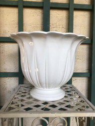 "12"" White Glazed Urn Planter Pot - Vintage NEW OLD STOCK!"
