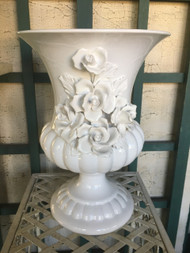 "10"" White Glaze Capodimonte Rose Urn Planter Pot / Vase - Vintage NEW OLD STOCK!"