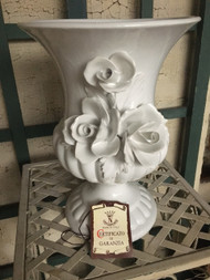 "8"" White Glaze Capodimonte Rose Urn Planter Pot / Vase - Vintage NEW OLD STOCK!"