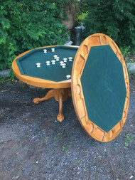 "48"" Round Oak Clawfoot Pedestal Table / Bumper Pool / Poker Table"