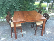 Square Bar Height Table w/ Leaf and 4 Bar Stool Chairs