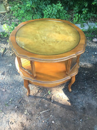 French Provincial Cherry Leather Top Drum Table