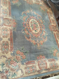 "Light Blue / Pink Floral Area Rug approx 10'6"" x 8'"