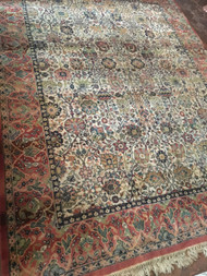 "Kebir French Red / Creme 10'6"" x 8' Oriental Rug"